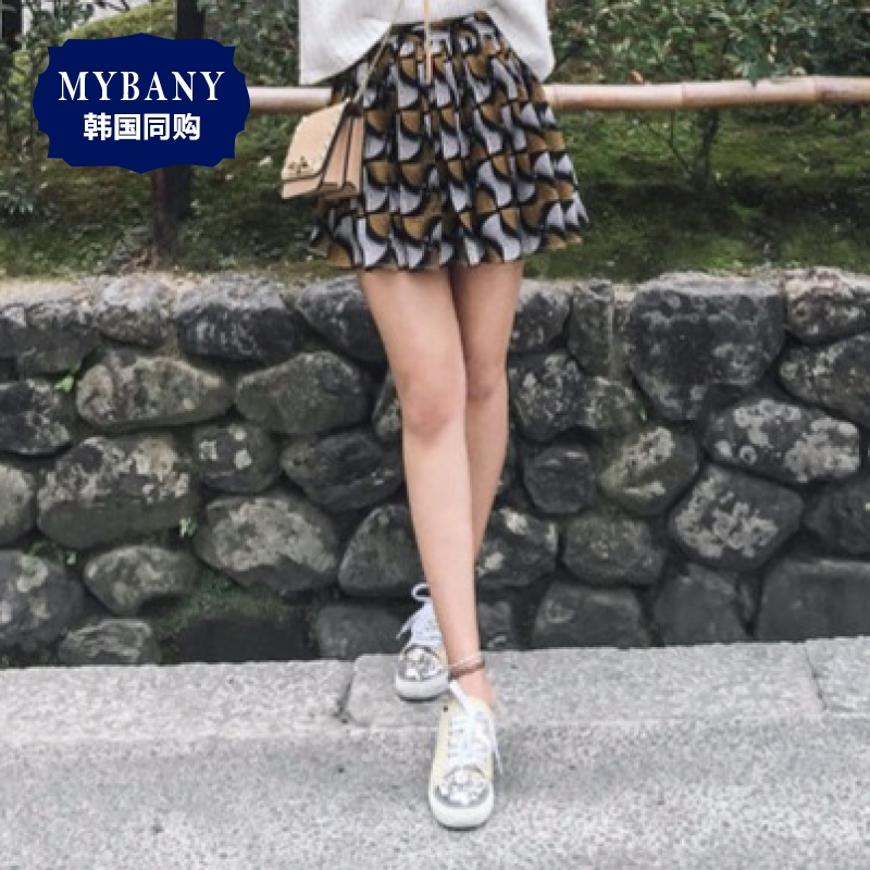Autumn korean version was thin and sexy korean MYBANY2016 ladieswear hundred art print high waist pleated culottes
