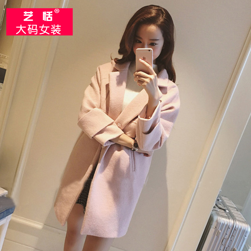 Autumn large size women fat mm2016 new fat sister woolen coat woolen coat woolen coat girls long section 2016