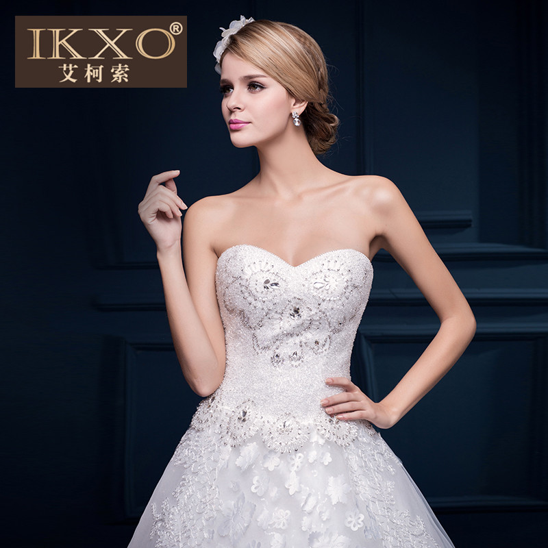 Autumn new korean sexy bride wedding bra type ikxo2015 tail fashion wedding dress was thin long drag