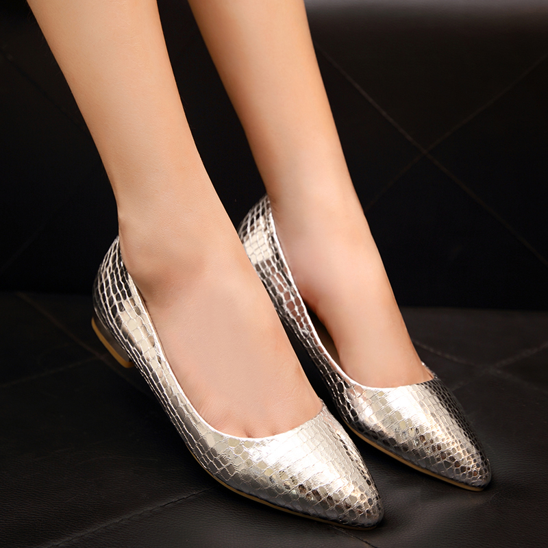 50b55ebd13d7 Autumn new shallow mouth pointed shoes flat shoes women in europe and  america embossed gold silver