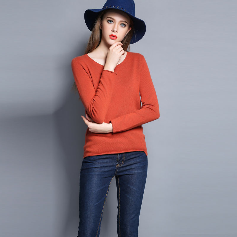 Autumn sweater round neck short paragraph bottoming sweater female hedging loose cashmere sweater autumn and winter 2015 korean version of the new