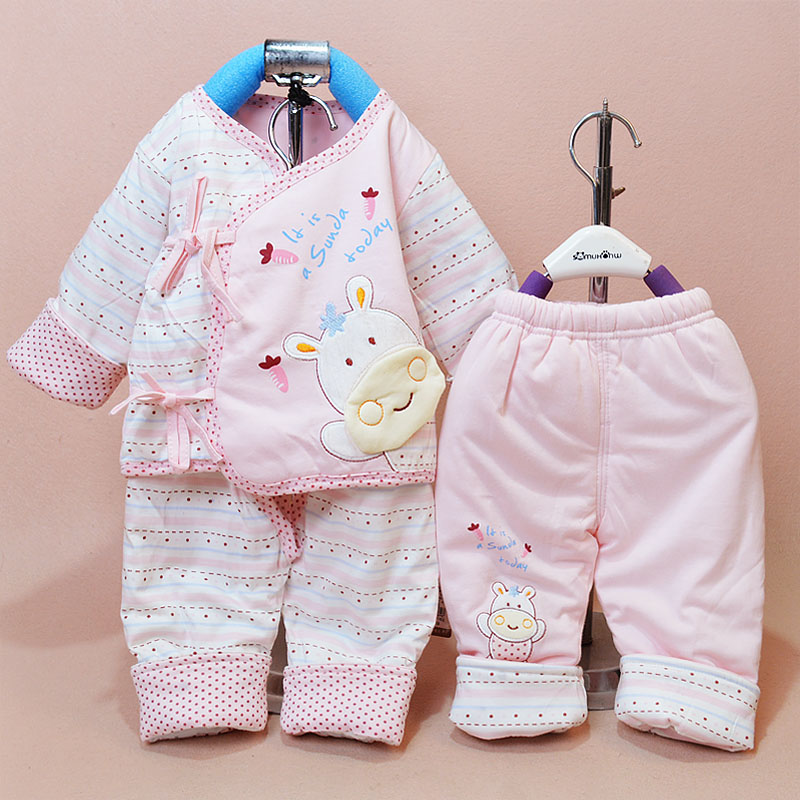 Autumn thin coat baby cotton three sets of cotton lace thin section of the spring and autumn newborn baby cotton baby clothes out clothes