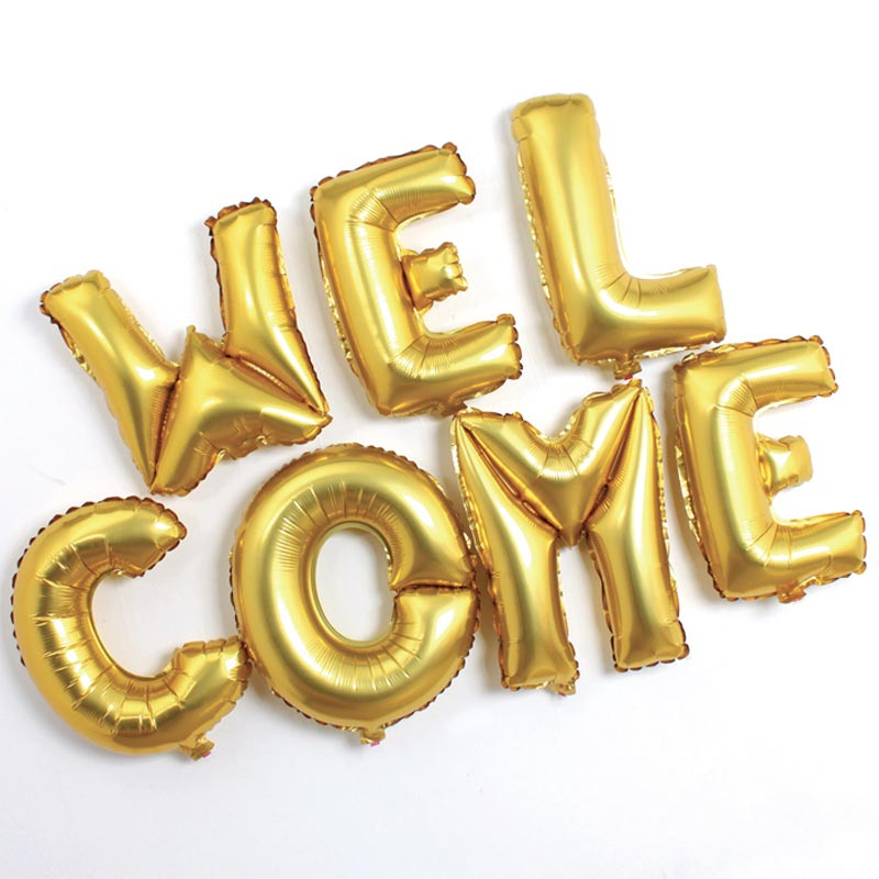 Aw gold letters aluminum foil balloons wedding wedding baby birthday party decoration balloon arrangement