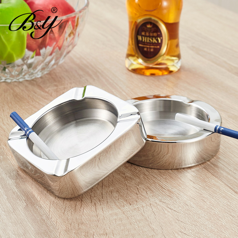 B & y stainless steel double home ashtray cigarette ashtray cup cafe club restaurant ashtray ashtrays ktv supplies supplies