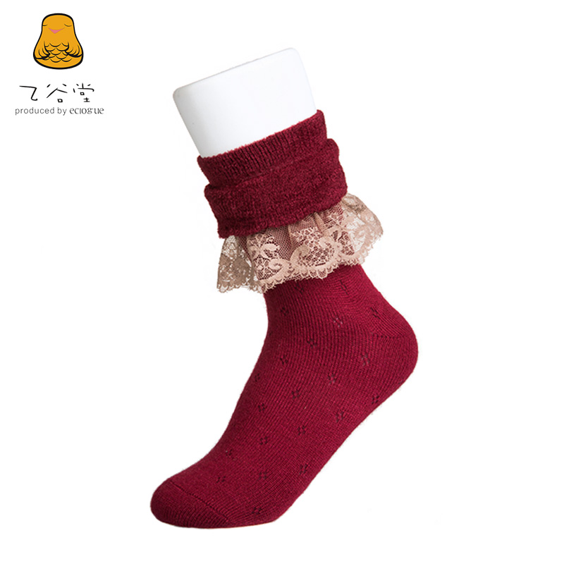 B valley church winter new fashion lovely ms. double lace socks wool socks thick warm soft