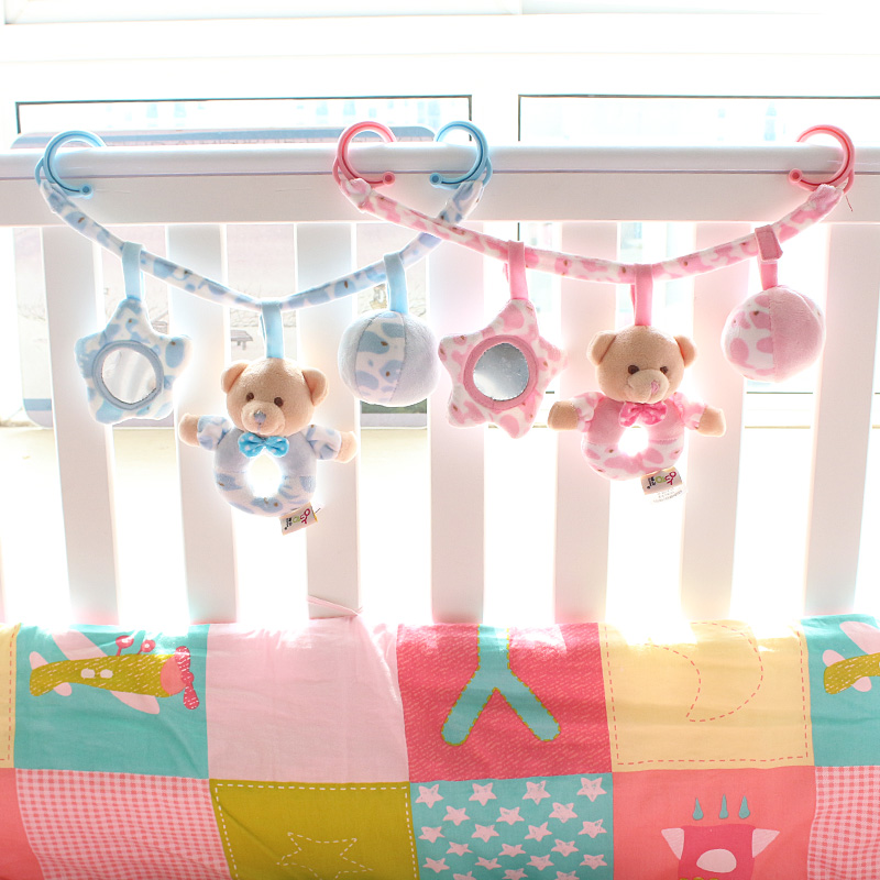 Baby bed hanging around the bed fabric stroller toys tweak the sound plush toy rattles newborn baby toys bed bell