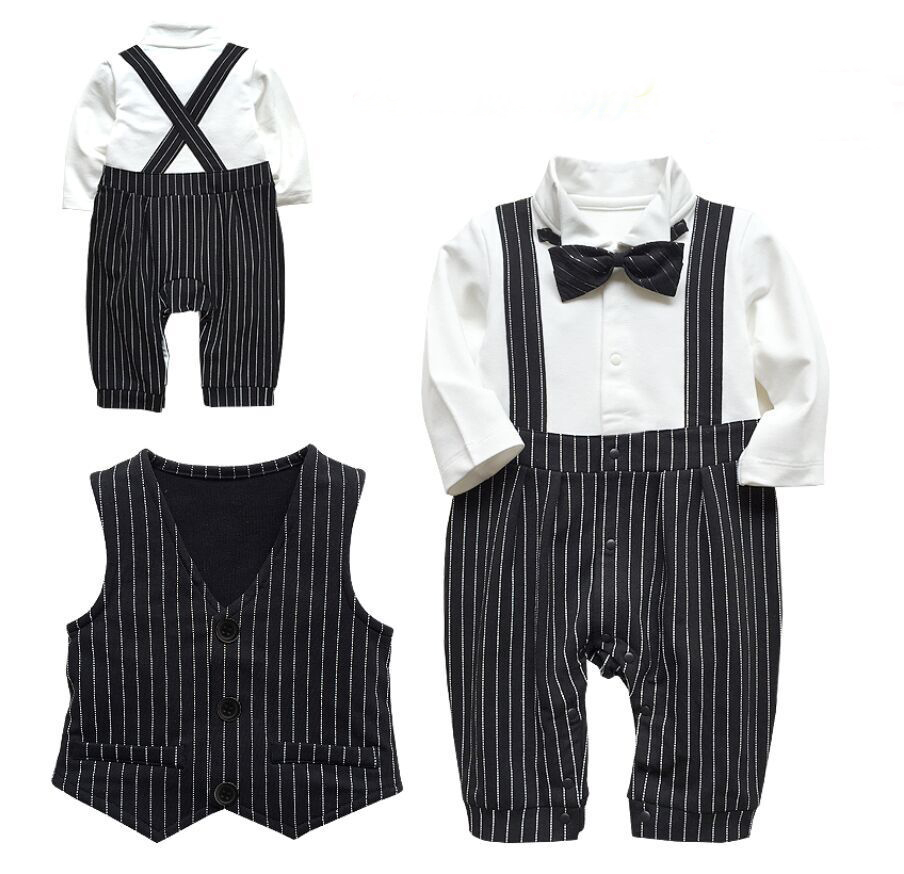 Baby coveralls spring and autumn full moon suits hundred year old baby boy gentleman tie vest romper climbing clothes gown