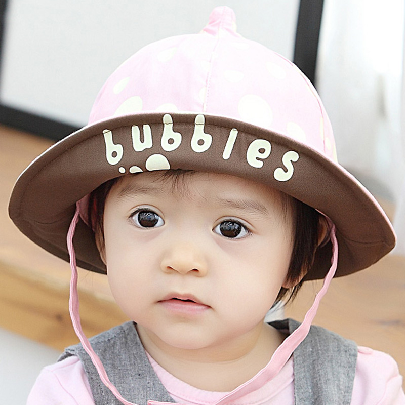 Baby hat 1-2-year-old polka dot korean version of spring and autumn infants and young children male and female baby hat children cotton sun hat
