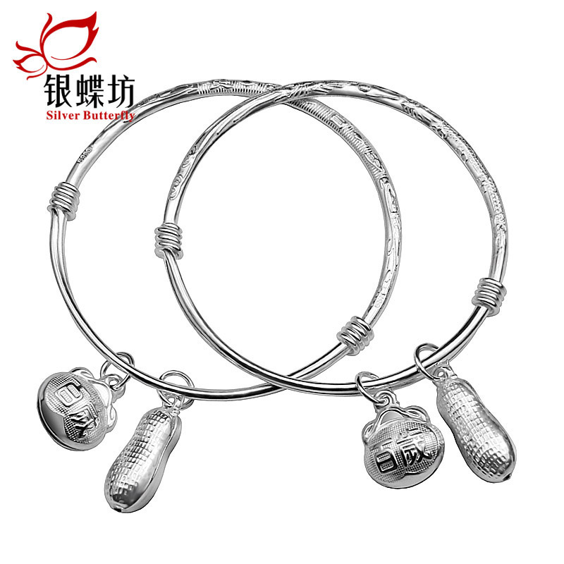 Baby solid silver bracelet silver jewelry 990 fine silver bracelet child silver bracelet anklet baby male and female infants and children full moon
