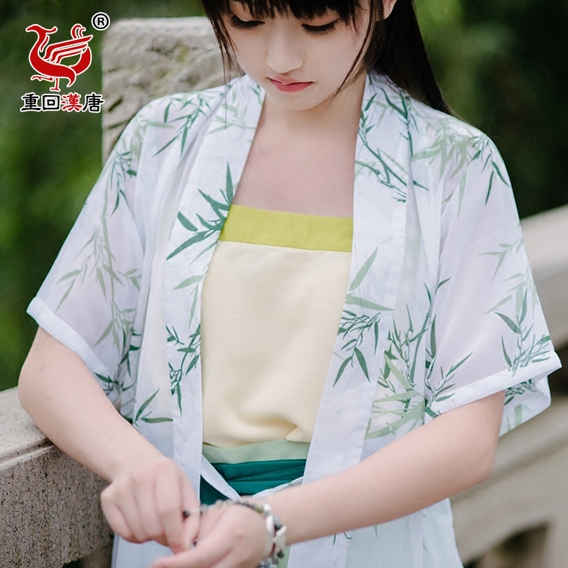 Back to the han and tang dynasties moderate original brand bamboo printed chiffon suit improved everyday chinese elements banbi han clothing