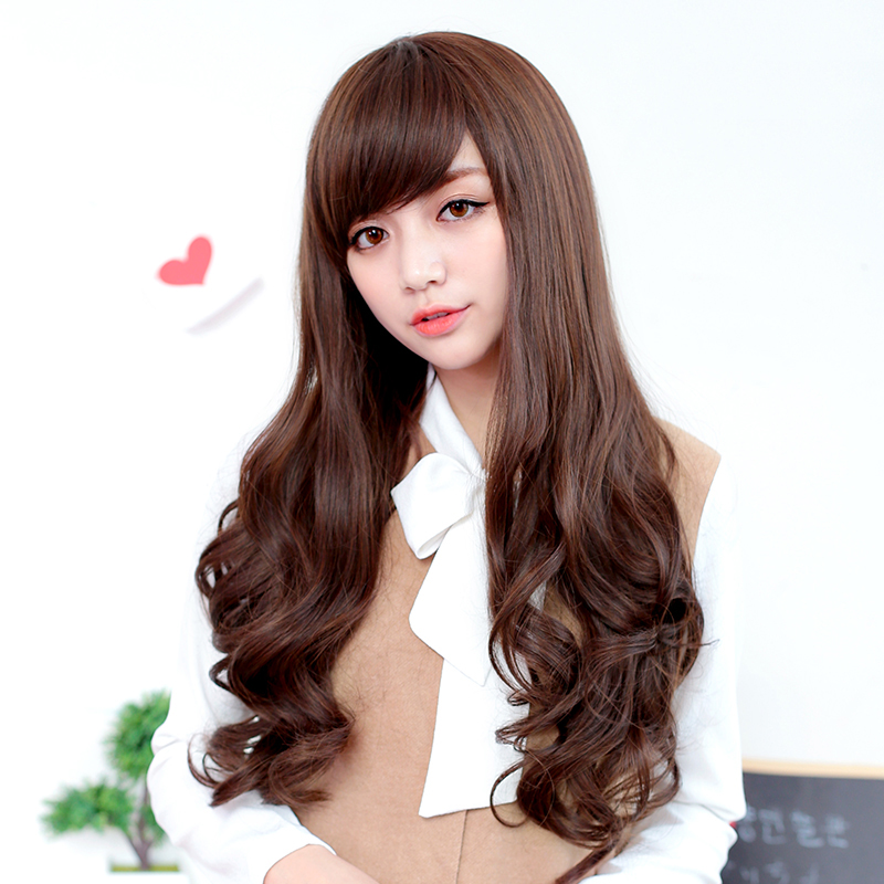 Bai america square wig lifelike female big wave long hair wig round fluffy oblique bangs wig repair face the whole top Set