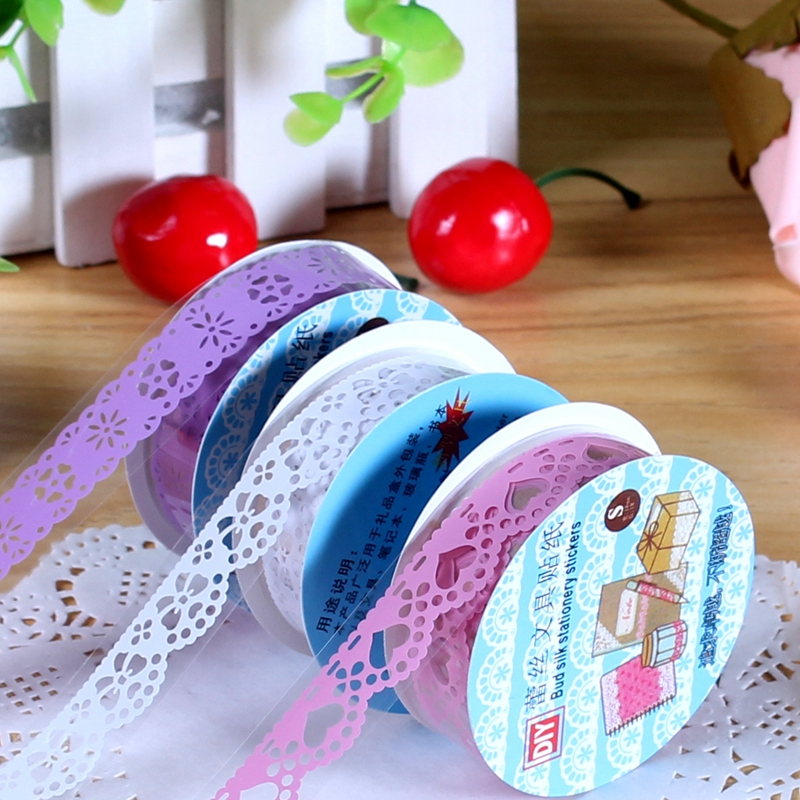Bai美年华hollow lace lace tape diy album tool accessories pvc decorative stickers 7 color options