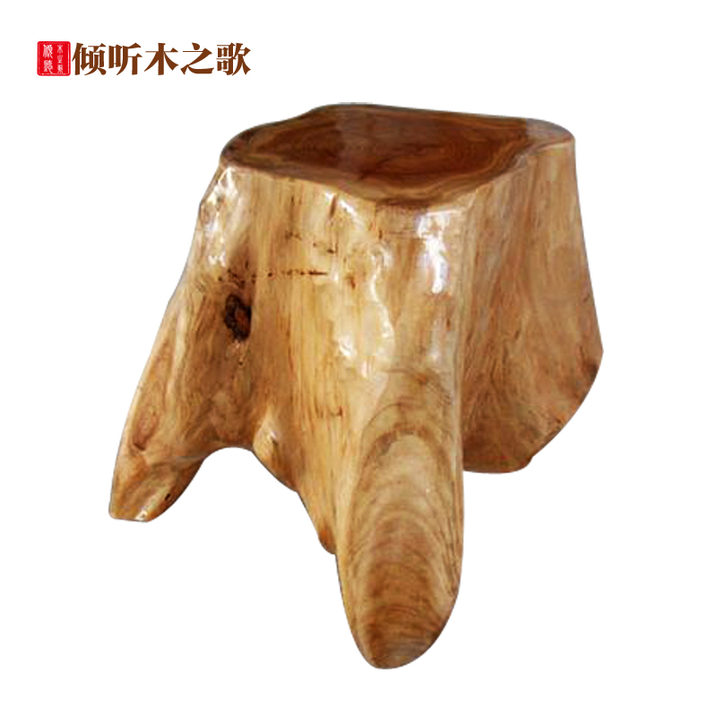 Baidunzi fir wood carving wood coffee table with stool stool stool changing his shoes stool chair natural round tree flower spot