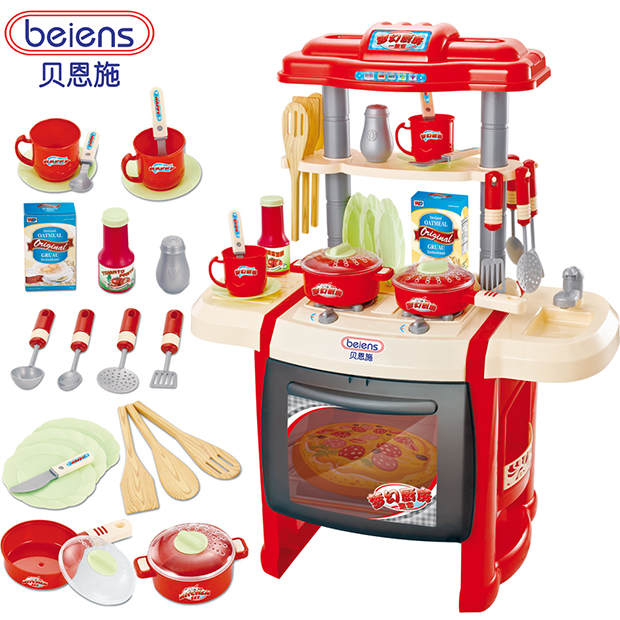Bain shi children play house toys girl kitchen cooking kitchen utensils baby toys play house kit