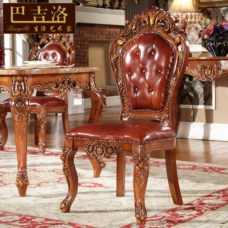 Baji luo european american retro wood carved leather dining chairs luxury dining chair cy 913