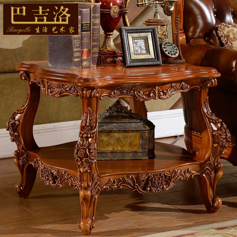 Baji luo european natural marble carved wood coffee table a few side a few corner a few american luxury retro 212b