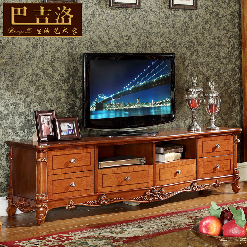 Baji luo village american tv cabinet tv cabinet neoclassical villa luxury real european tv cabinet carved wood cabinets 319