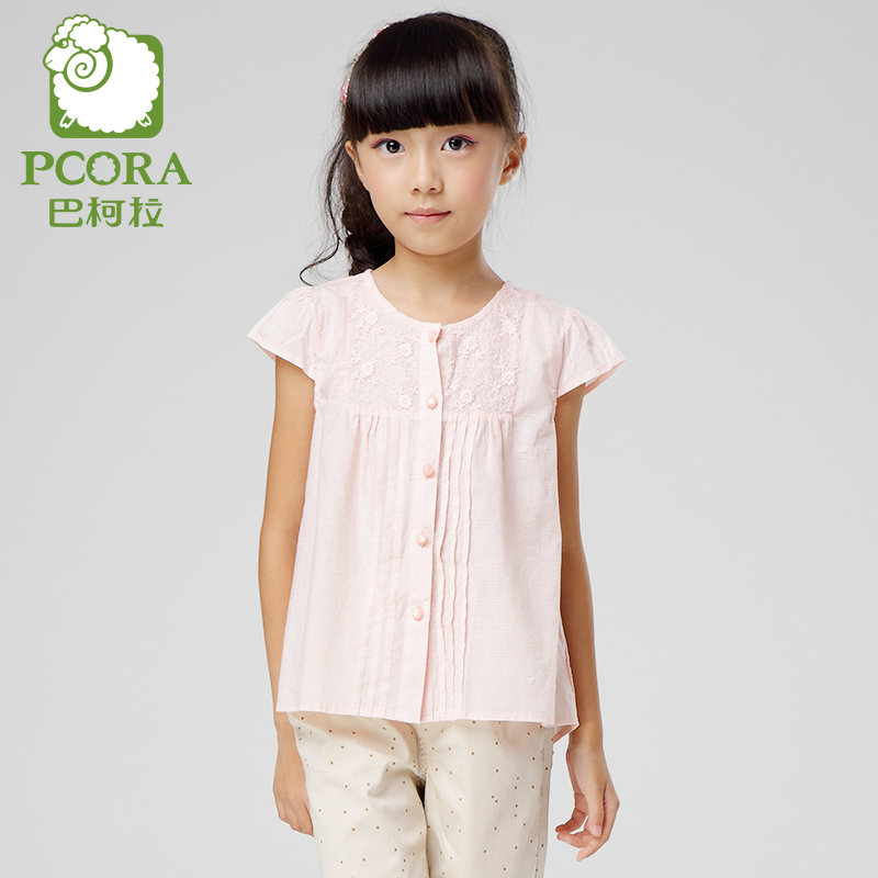 Bake la pcora kids girls t-shirt 2016 summer new solid color embroidered short sleeve shirt korean version