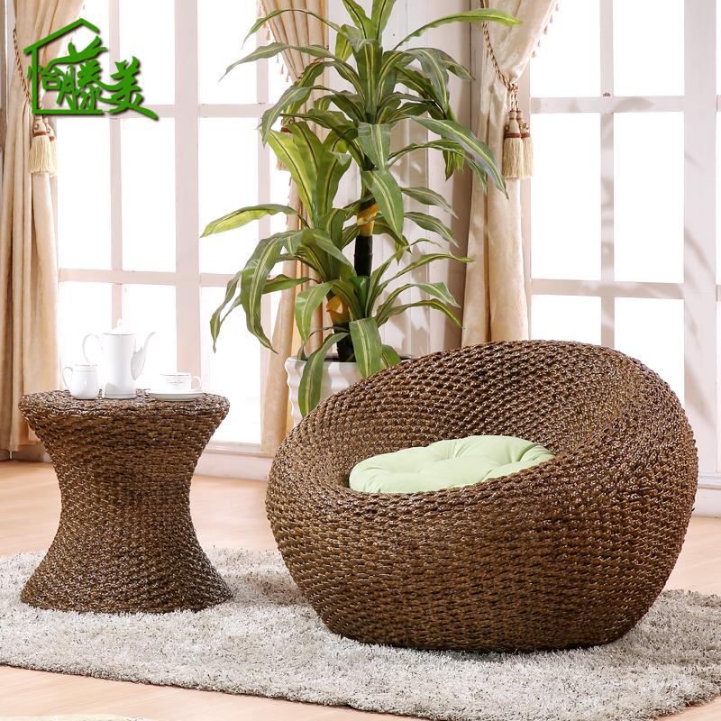 Balcony casual rattan chair rattan furniture rattan creative beanbag chair recliner single sofa rattan wicker chair