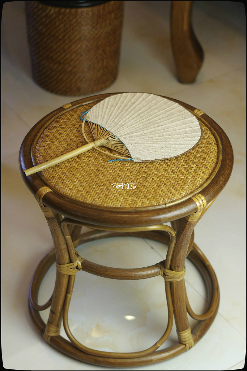 Bamboo and rattan忆园imported handmade natural plant rattan wicker chair wicker chair backrest small stool stool stool low stool stool stool drum stool shipping