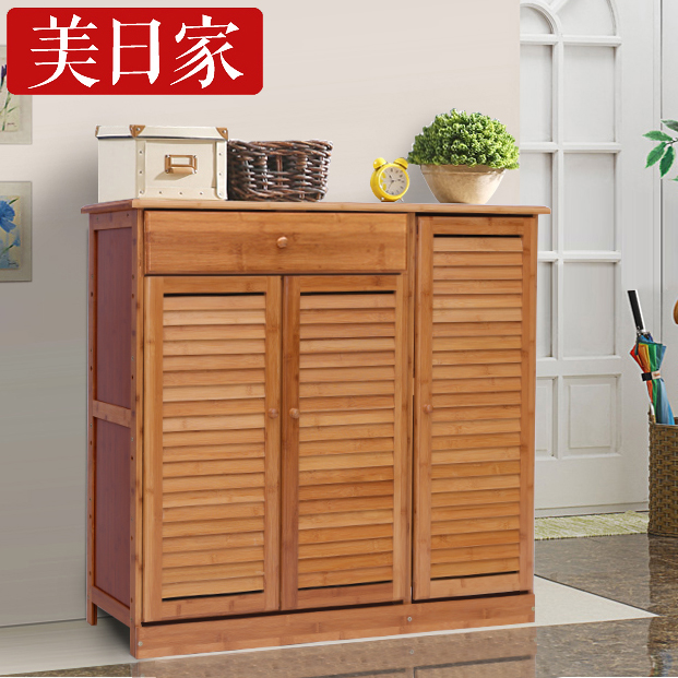 Get Quotations · Bamboo European Shoe Wood Porch Simple Shoe Rack Shoe Rack  On The Door 3 Door 2