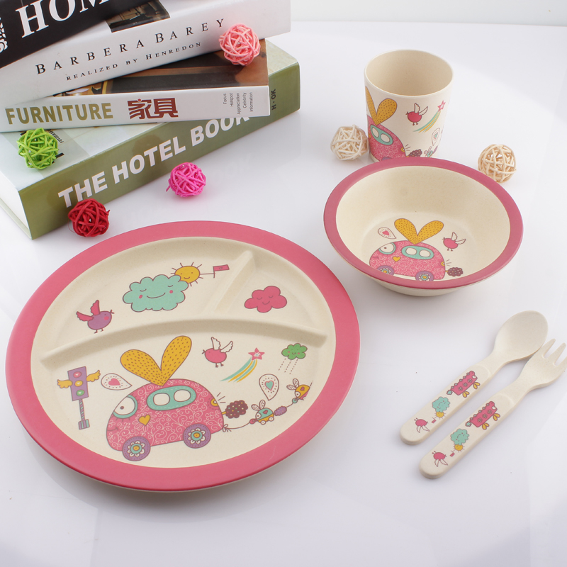 Bamboo fiber tray compartments baby infant children's tableware suit bowl plate plate three grid plate