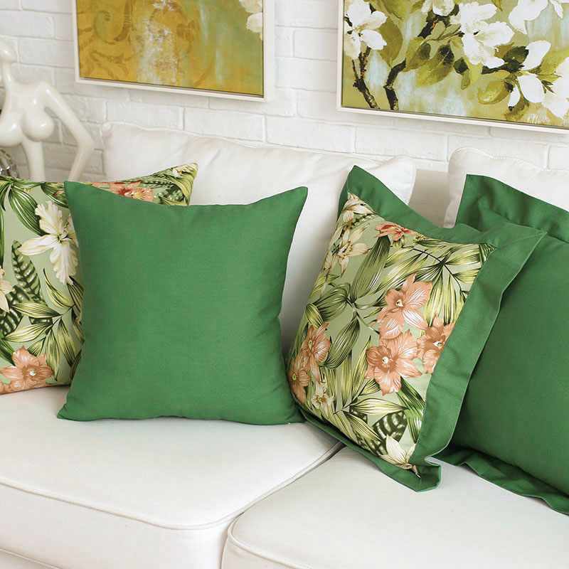 Bamboo flower green cotton fabric dining chair cushion pad stool cushion pad sponge cushion pillow cover pillow can be customized