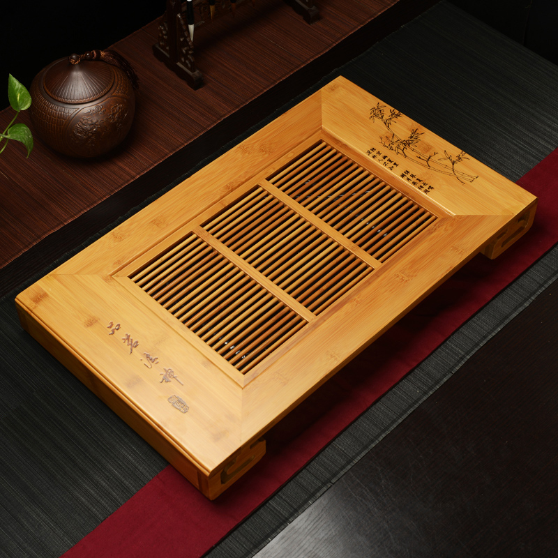 Bamboo tea tray drain kung fu tea tray bamboo tea tray tea sea wood tea tray small plate large drawer