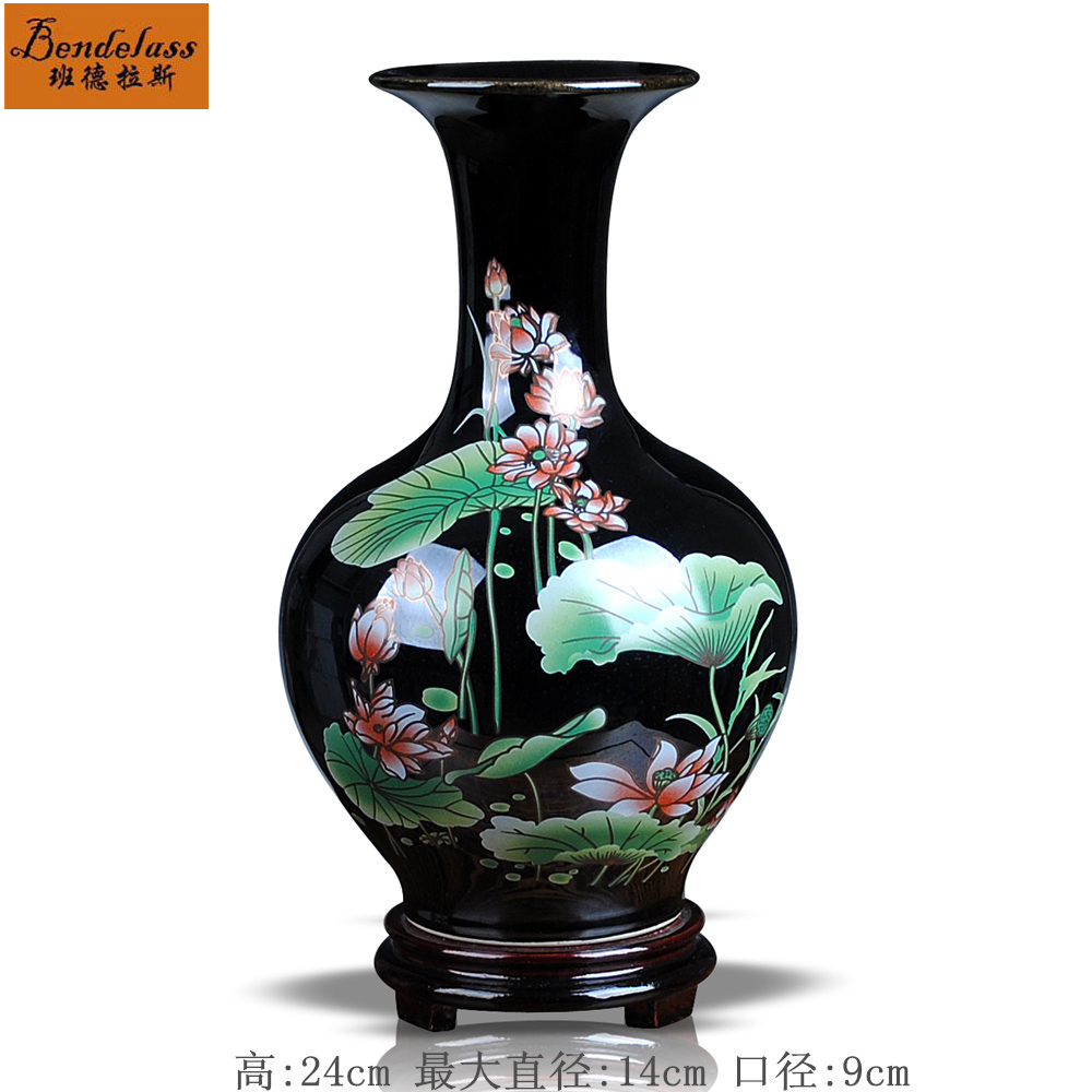 Banderas black gold glaze ceramic vase pastel lotus fashion home decorations ornaments ceramic vase reward bottle