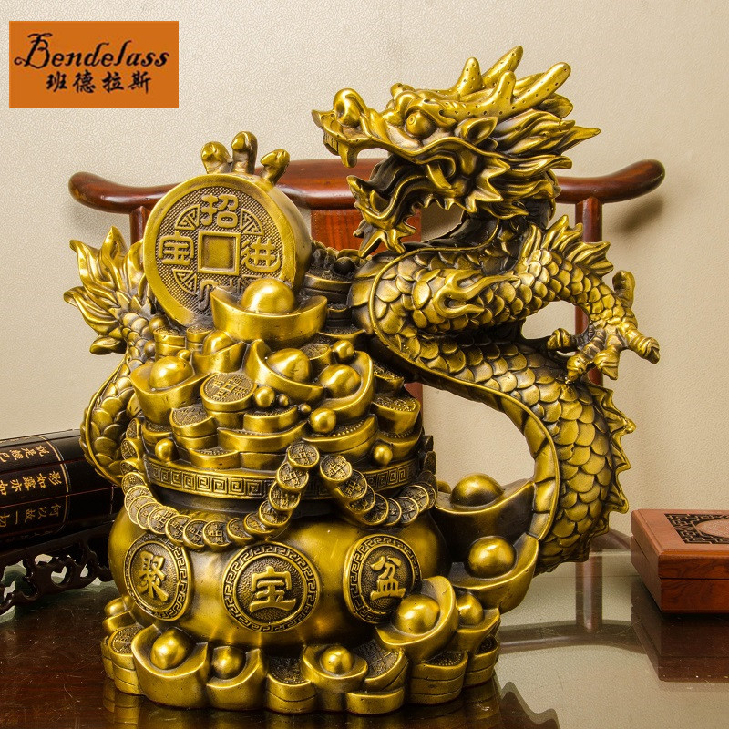 Banderas copper modern chinese dragon copper ornaments cornucopia living room home office decoration crafts ornaments