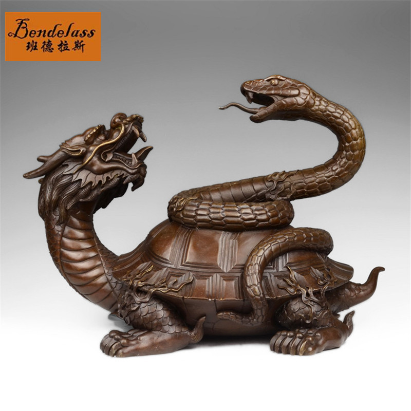 Banderas modern chinese animal basaltic copper dragon turtle ornaments home living room decoration crafts ornaments