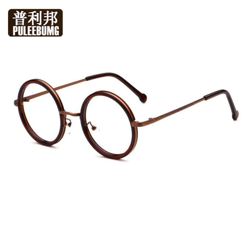 Bang pully literary retro round frame myopia glasses plain glasses for men and women round decorative glasses for men and women