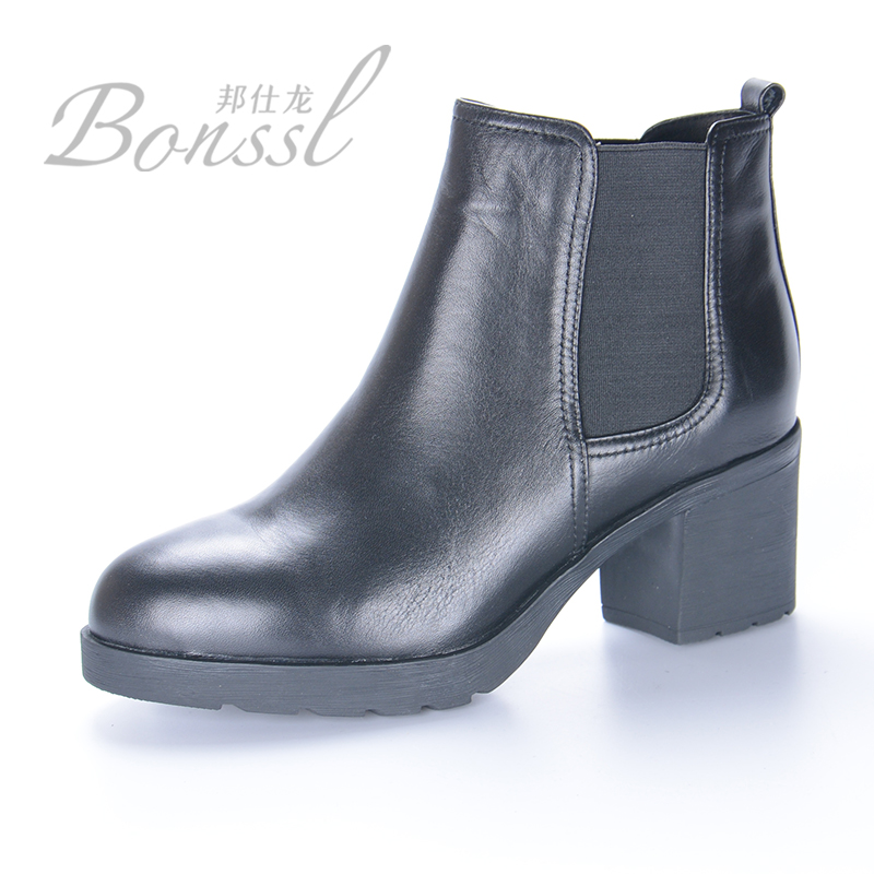 Bangshi long 2015 new winter models stylish and comfortable round leather high heels women boots set of feet thick 16894