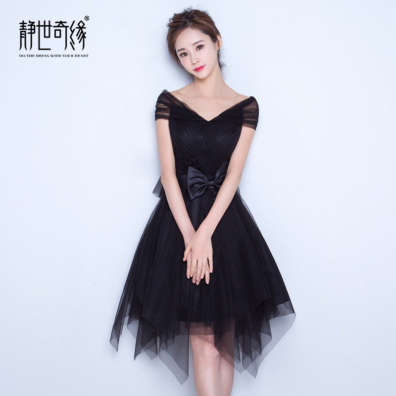 Banquet evening dress 2016 new summer korean word shoulder black main holder company annual meeting dress short paragraph female