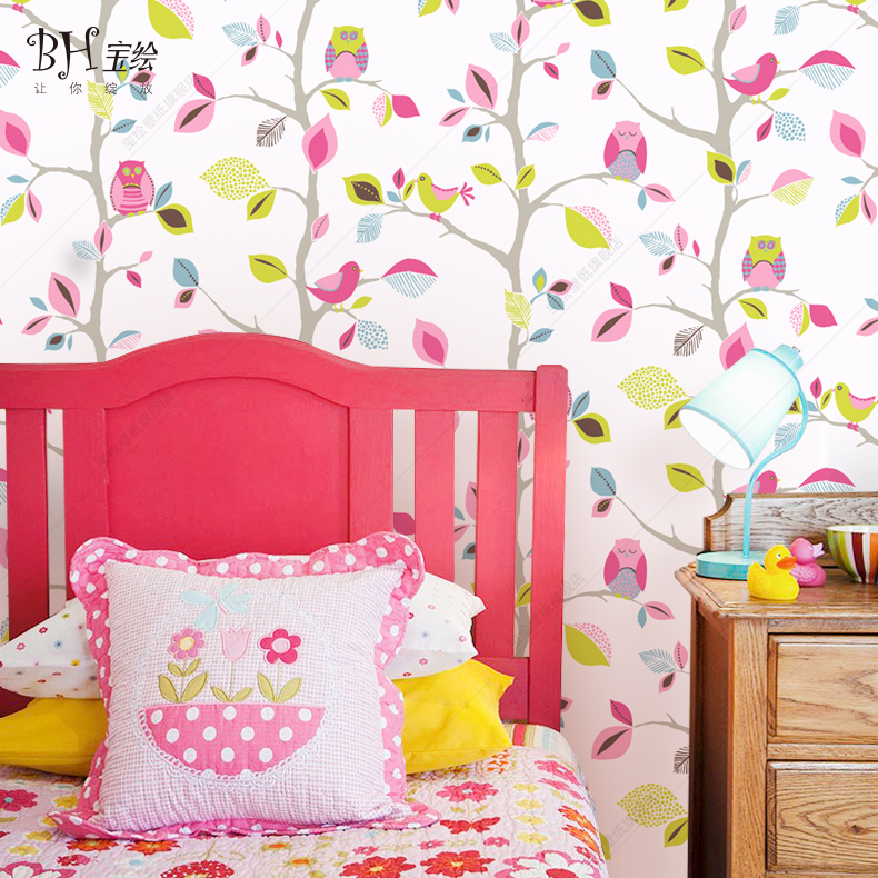 Bao bao painted leaves owl children's room wallpaper nonwoven wallpaper background wallpaper boys and girls card through the wall wallpaper