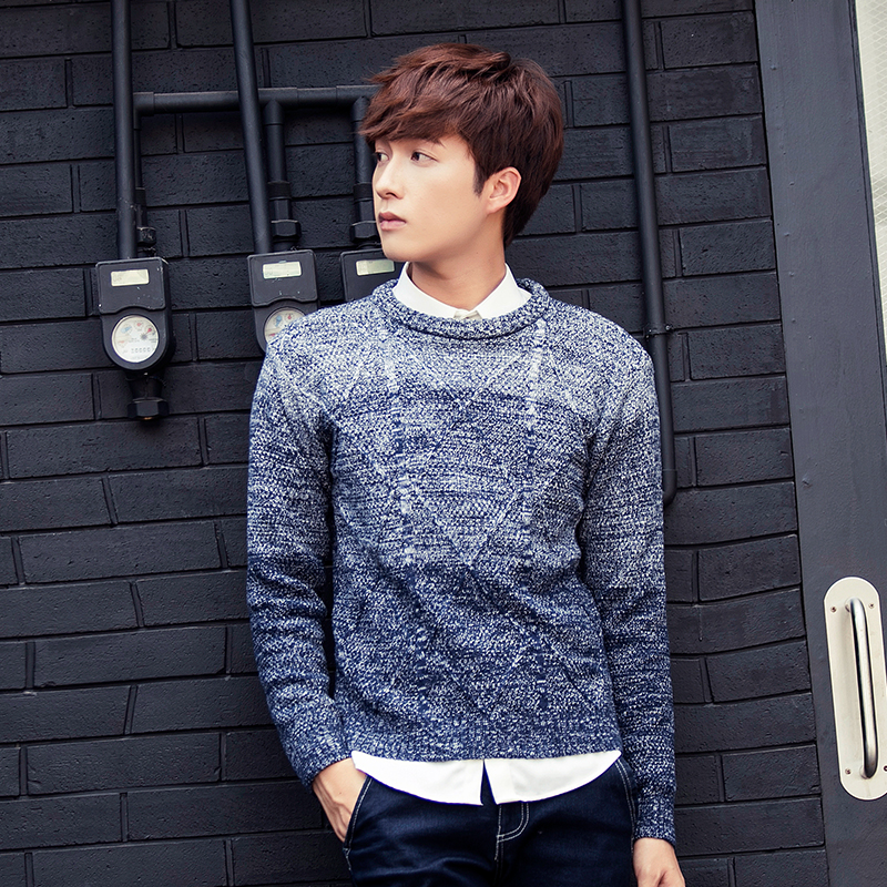 Bao shi di 2016 dongkuan hedging round neck sweater male teenagers korean slim hit color sweater men sweater