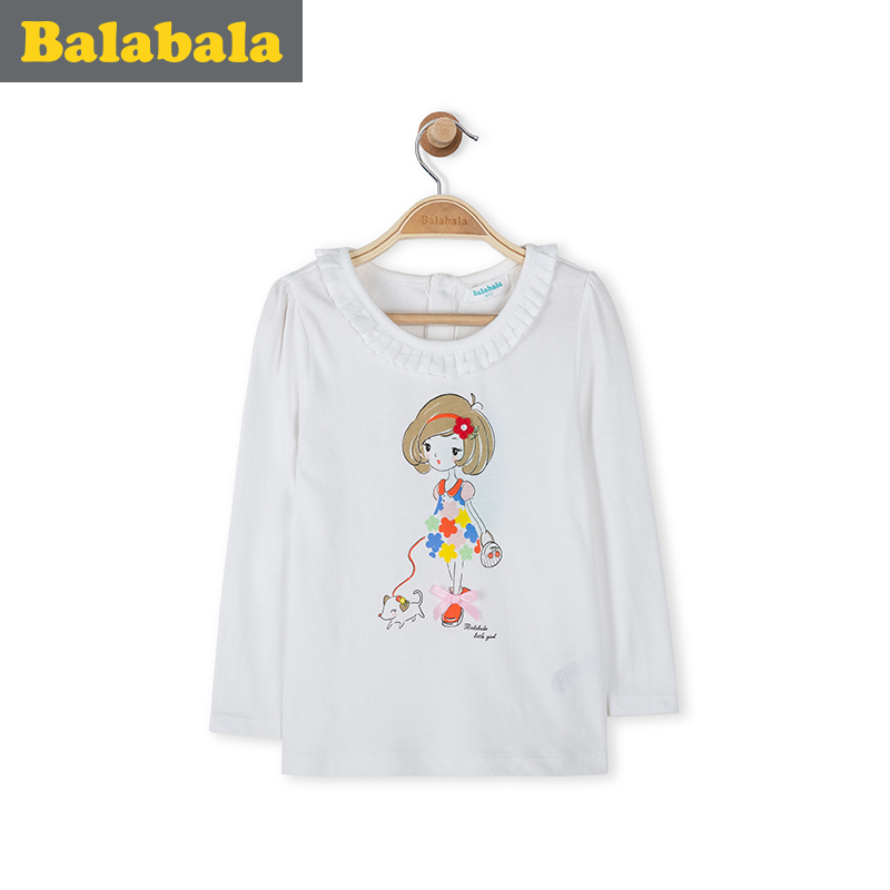 Barabara children's clothing girls cotton t-shirt baby cartoon round neck t-shirt 2016 spring clothing children long sleeve t-shirt female