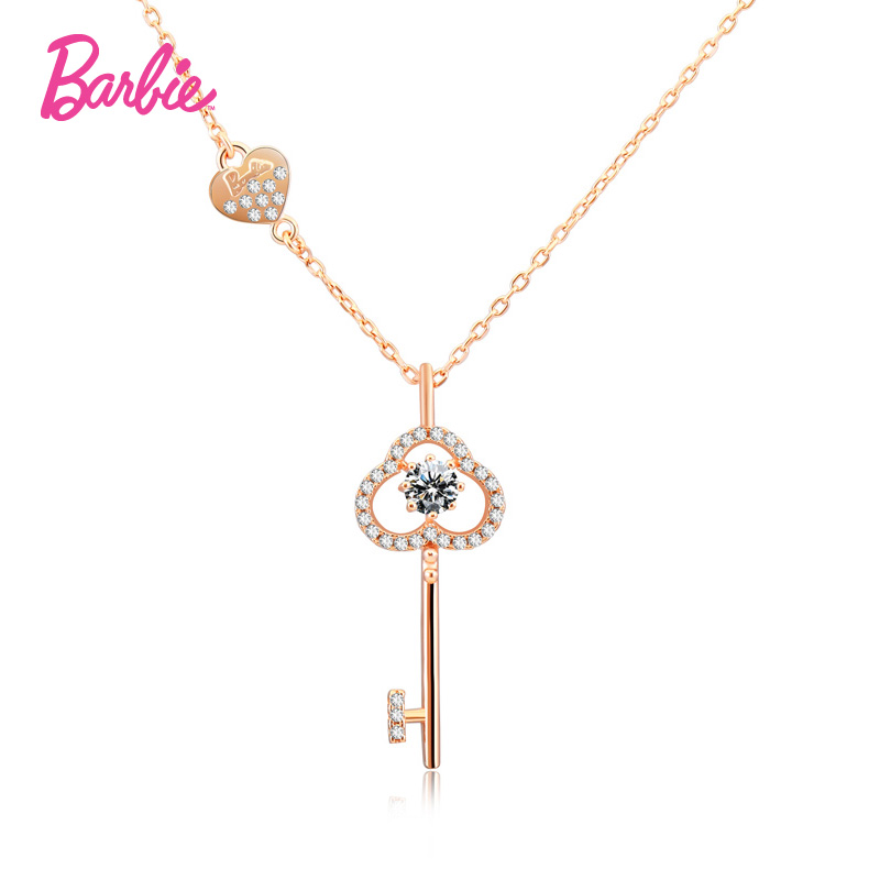 Barbie/barbie fashion jewelry s925 silver necklace female romantic hearts keys 3a zircon stone lock ossicular chain