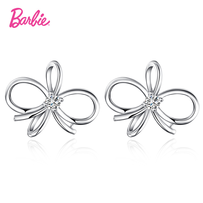 Barbie/barbie fashion s9 3a zircon earrings pierced earrings female korean ear jewelry 25 silver earrings fashion earrings