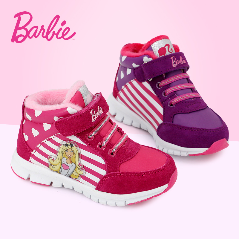 Barbie barbie shoes for girls sports shoes 2016 winter new children's casual shoes women shoes princess warm shoes