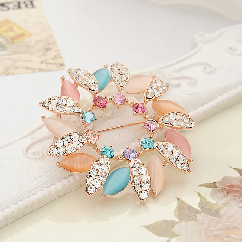 Get Quotations · Barbie blades of grass flowers opal jewelry shining rhinestone  brooch scarf buckle diamond brooch pin vintage 9e426539412e