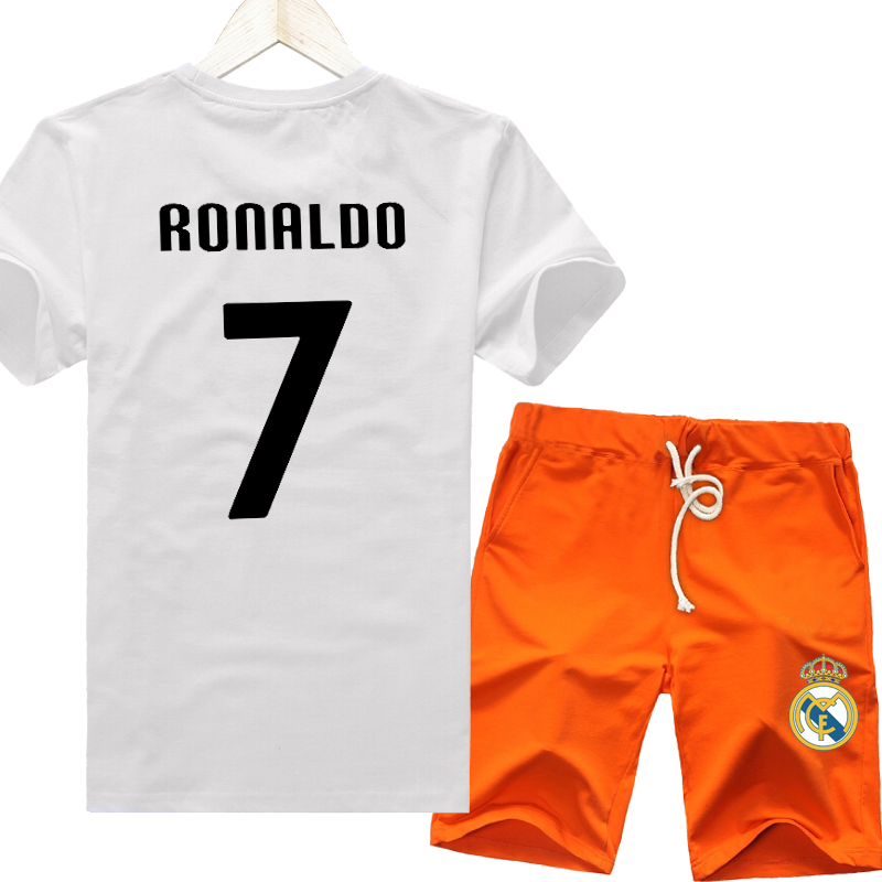 Barcelona champions league real madrid c ronaldo soccer clothes summer sports compassionate tide men short sleeve t-shirt suit a set of