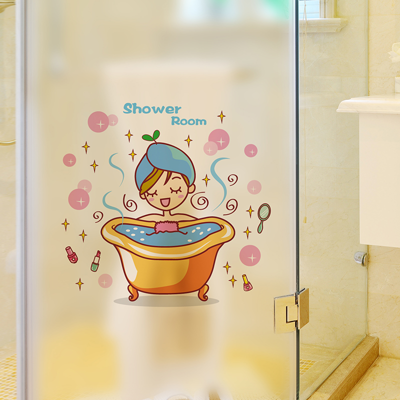 Bathroom shower glass bathroom tile stickers waterproof wall stickers villain funny car stickers personalized children's room wall stickers klimts