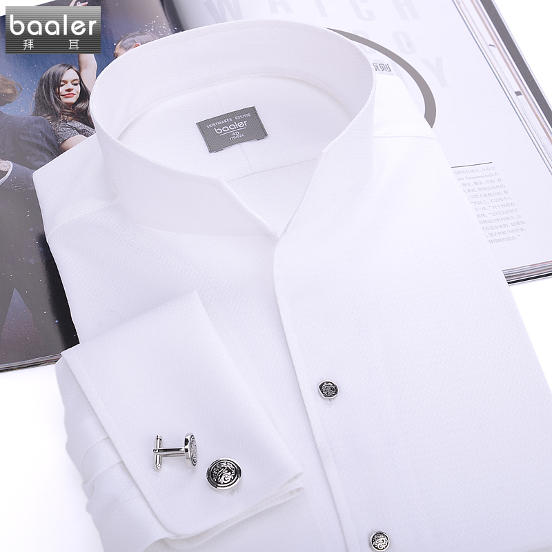 Bayer baaler french classic shirt collar shirt long sleeve shirt cotton high count cotton more slim