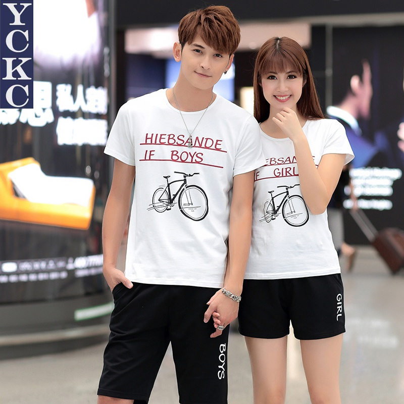 Beach lovers spring and summer 2016 short sleeve t-shirt printing slim suit lesbian student couples suite t-shirt