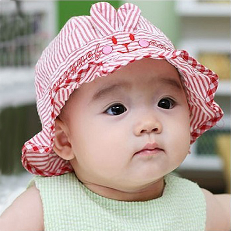 Bear flower hat baby 0--3--6æsummer sun hat sun hat korean children boys and girls cotton sun hat baby bucket hats