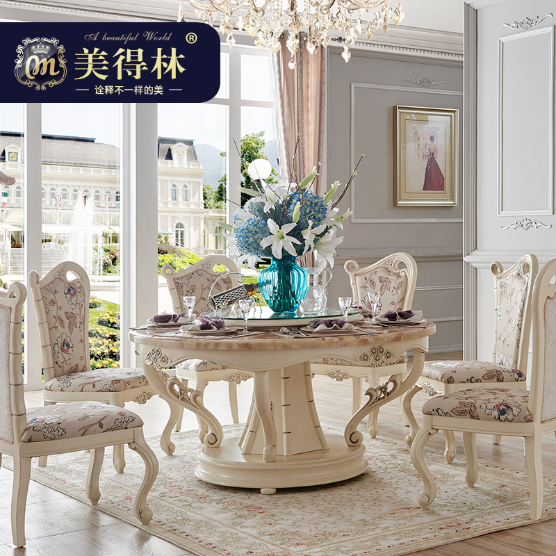 Beautiful forest archaized continental carved wood dining table dining table dining room furniture marble round french meal tables and chairs