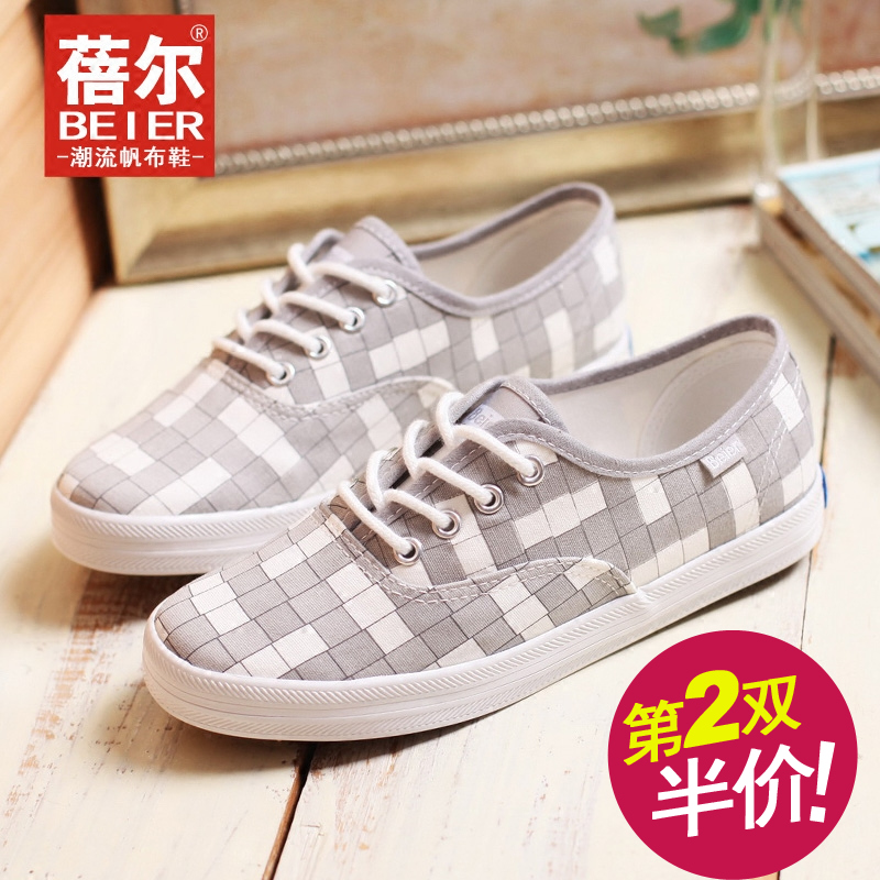 Beier autumn new korean version of casual plaid shoes breathable canvas shoes flat shoes student shoes flat shoes