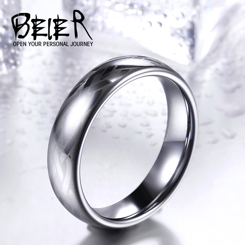 Beier male ms. tungsten gold ring in europe and america textile creative fashion personality index finger ring accessories single ring