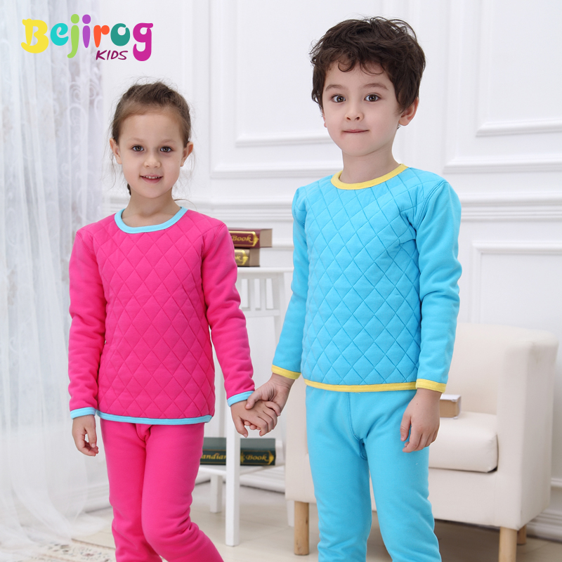 Beiji rong kids children fall and winter thermal underwear sets three quilted cotton baby boys and girls plus velvet